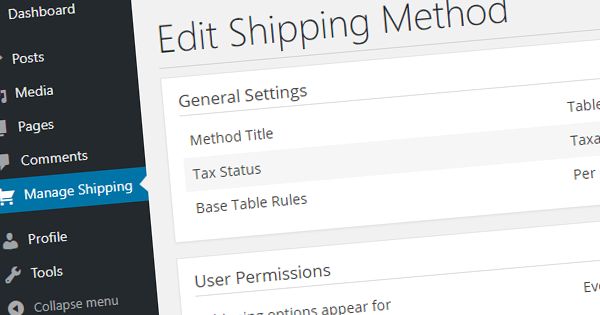 table rate shipping for users