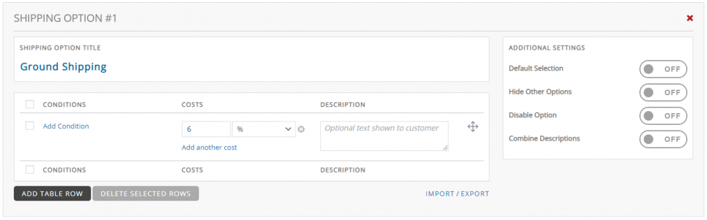 Table Rate Conditional Percentage Shipping WooCommerce
